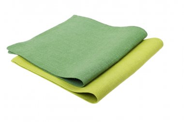 green table napkins on white background isolated