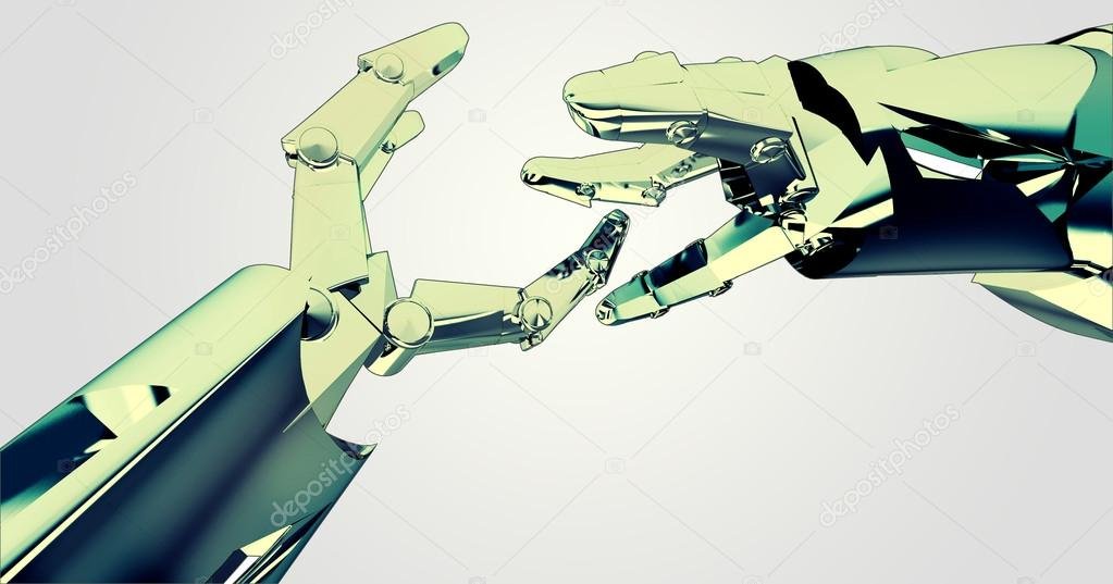Two colored shaking robotic hands teamwork succes illustration