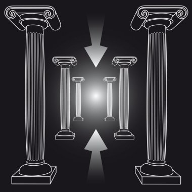 Way from crisis with ancient Greek columns