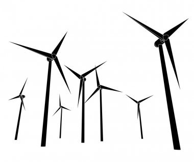 Wind energy power vector silhouettes