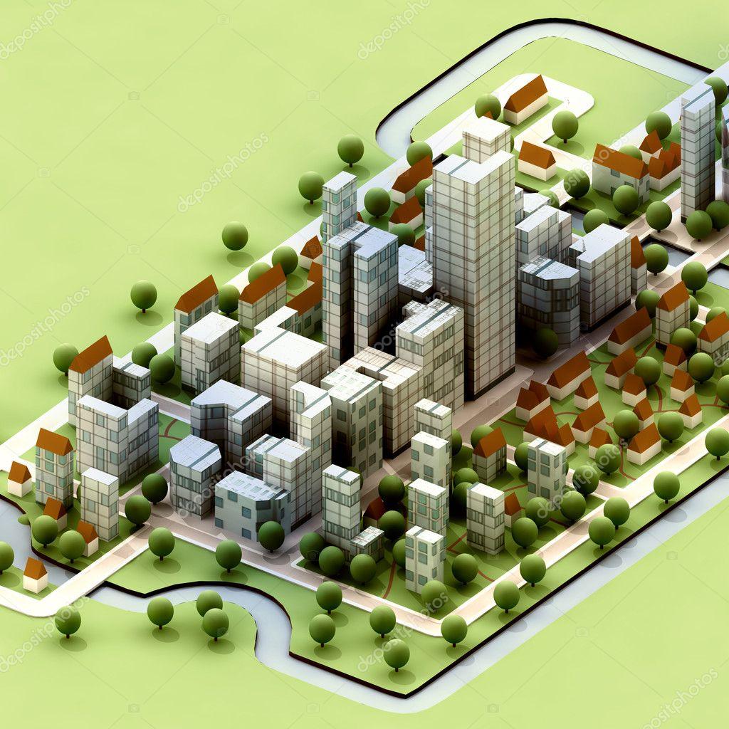 Landscape of new sustainable city concept development illustration