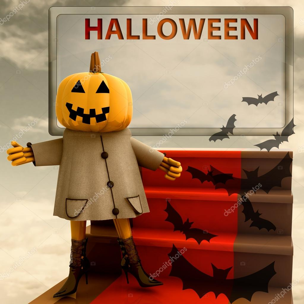 Halloween pumpkin standing on red carpet template illustration