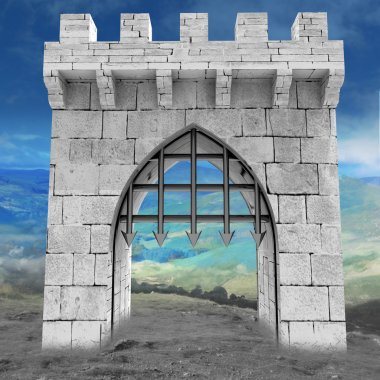 Medieval gate with steel lattice opening with mountain landscape illustrati