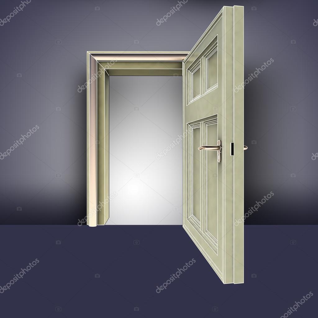 Open doorway frame in empty room concept illustration — Stock Photo ...