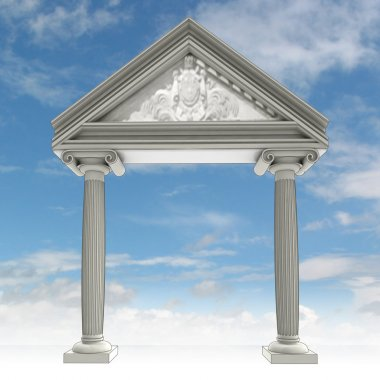 Ancient ionic column gate with architrave and blue sky illustration