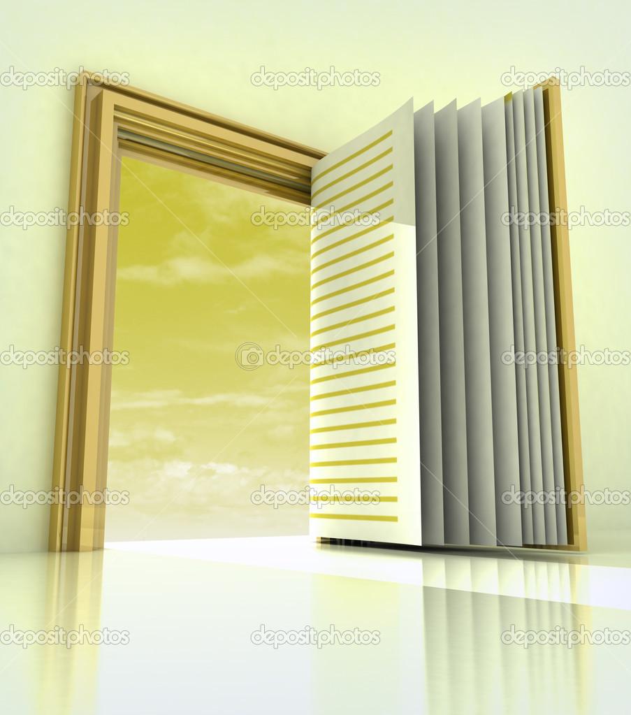 golden doorway frame open like book — Stock Photo © Adikk #20140131