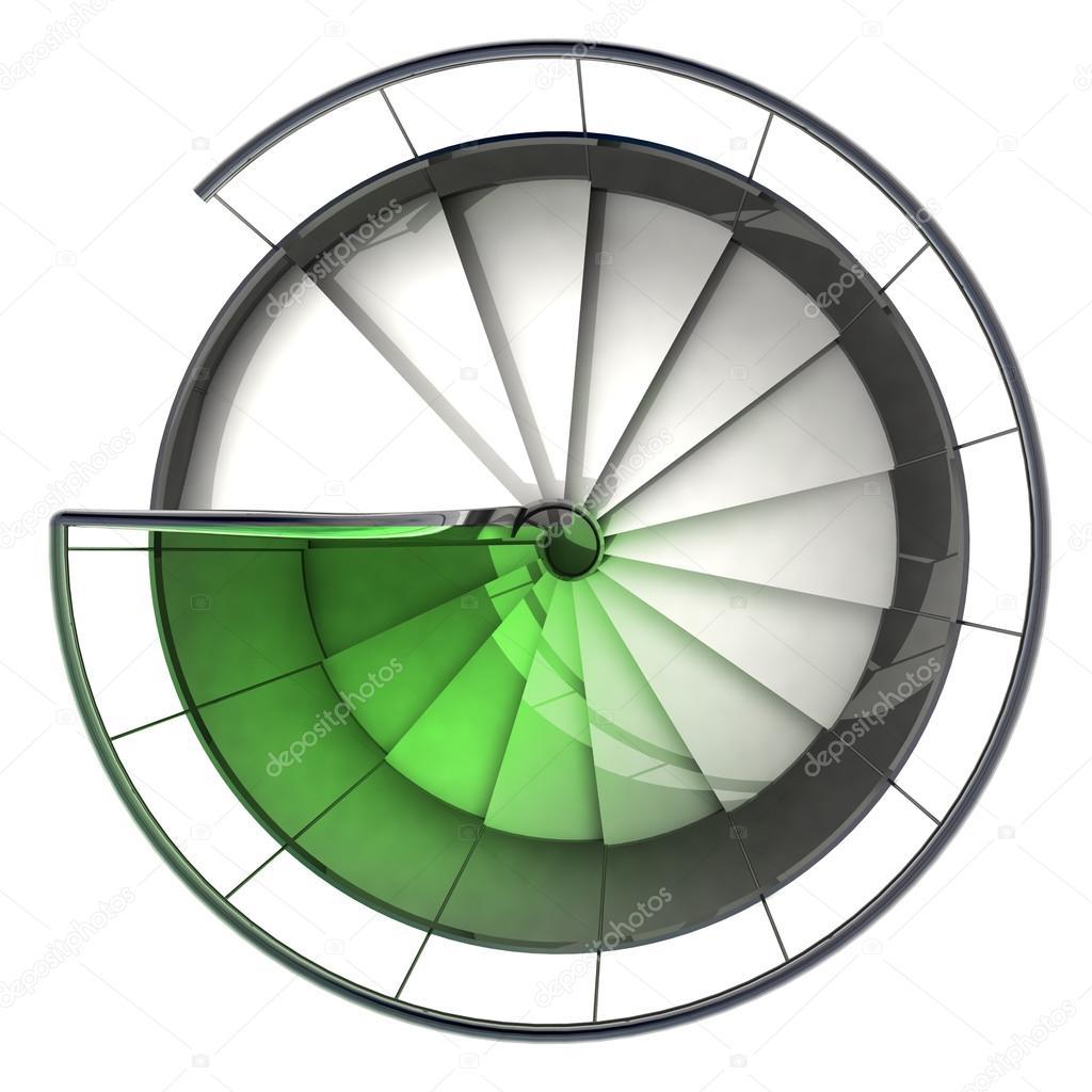 decoloracin de la vista superior de escalera espiral verde u imagen de stock