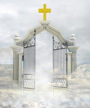 Semi opened entrance to Gods paradise in sky