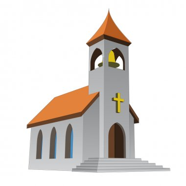 Rural isolated church for catholics with bell vector illustration stock vector