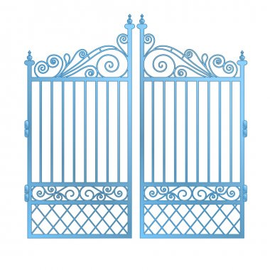 isolated steel decorated baroque gate vector