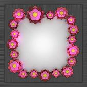 červené květy růžové čtverce na kovovém povrchu