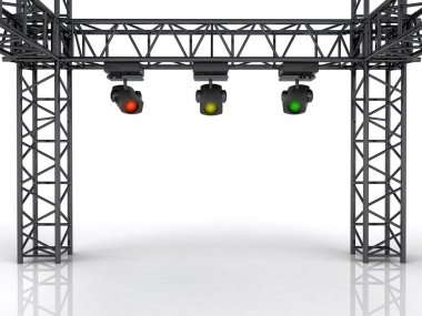 stage construction with three colorful spotlights