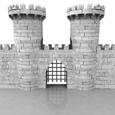 isolated medieval stoned castle gate with towers