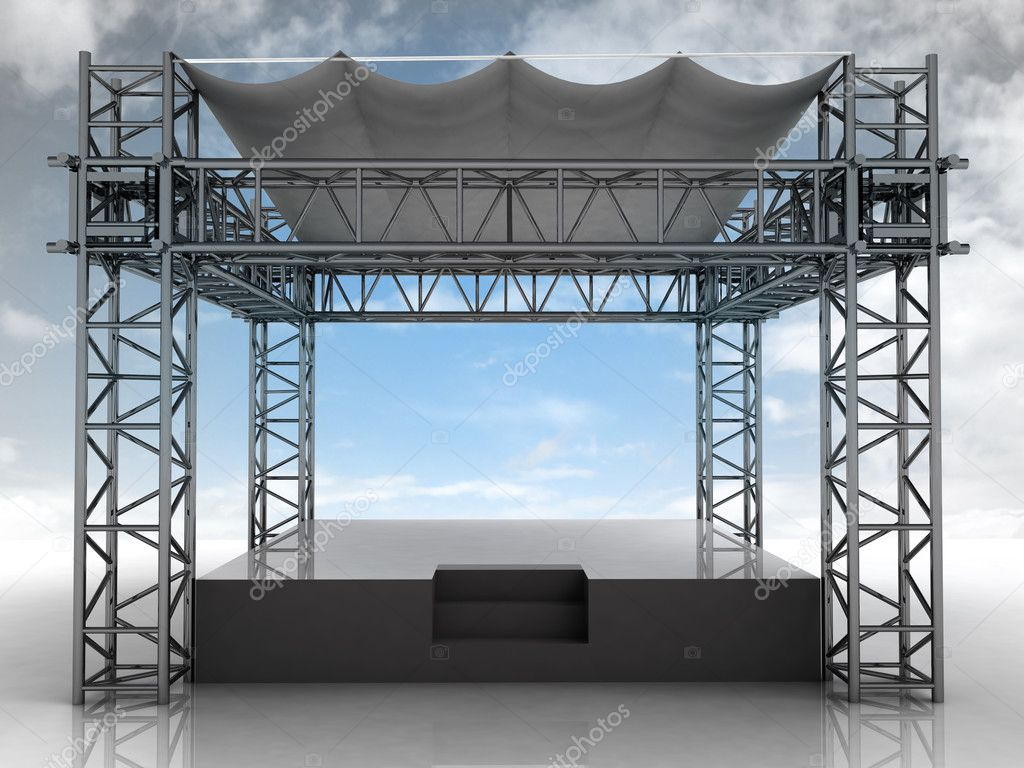empty podium with roof and blue sky front view