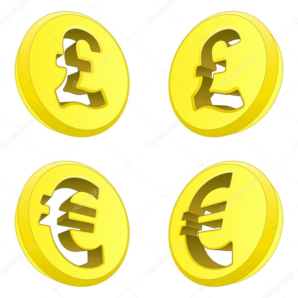British Pound And Euro Perspective Coin Drawing Vector Stock
