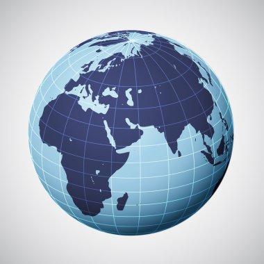 vector world globe in blue focused on europe