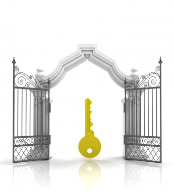 open baroque gate with golden key