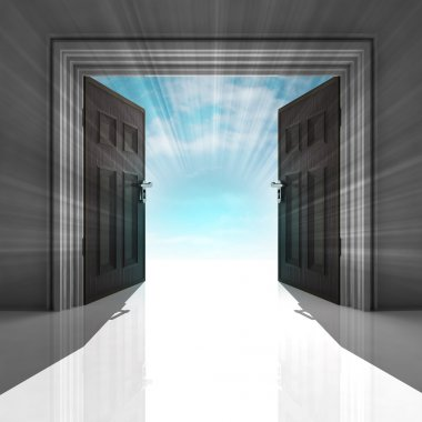 double doorway with blue sky and flare
