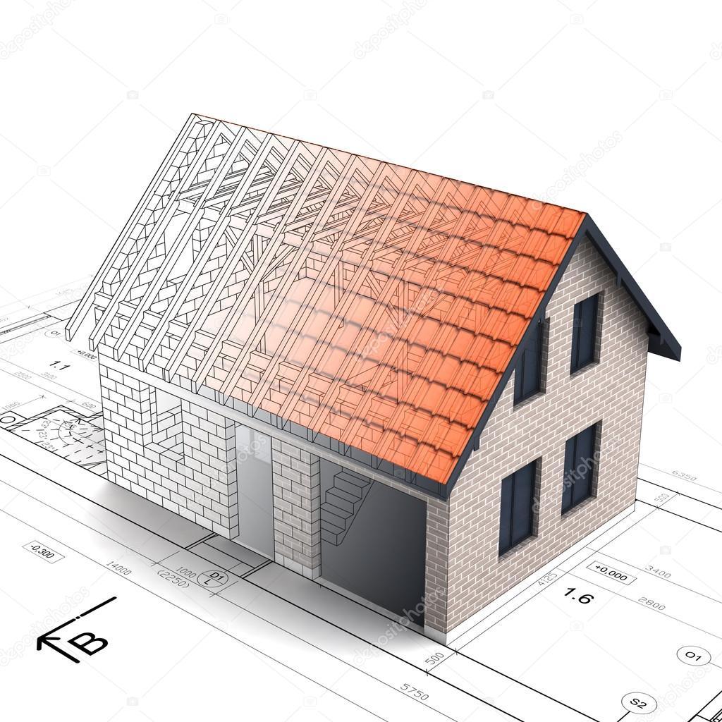 Conception de maison construction brique mélanger transition