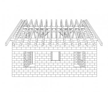 house construction line drawing vector