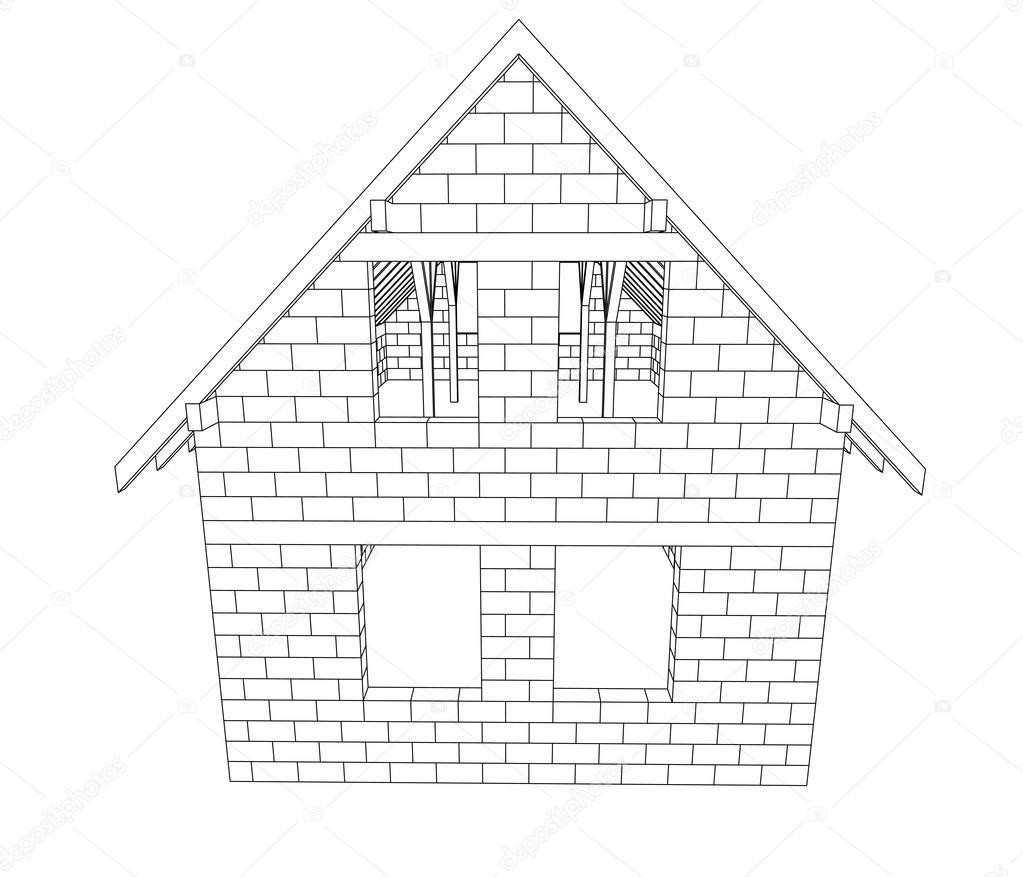 Haus strichzeichnung  Haus Bau Strichzeichnung Vektor — Stockvektor #29223757