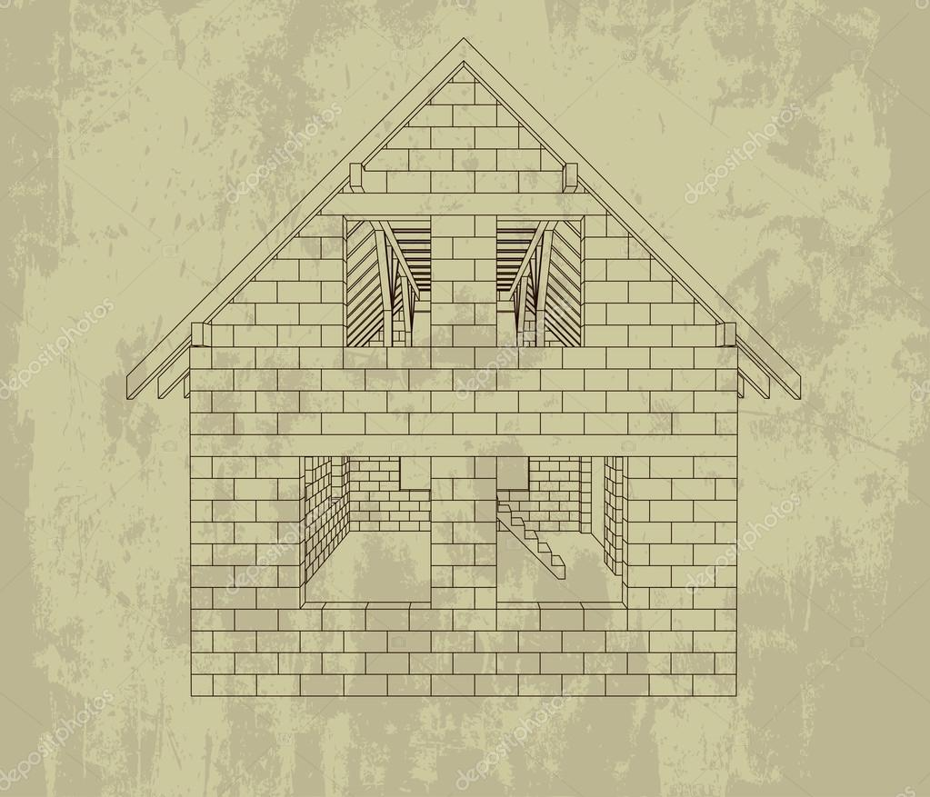 gable house construction line grunge drawing vector