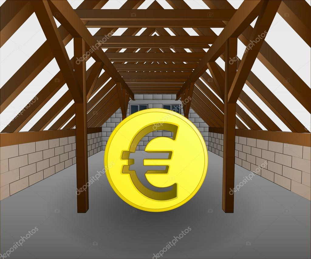 Zolder in aanbouw met euro munt vector u stockvector adikk