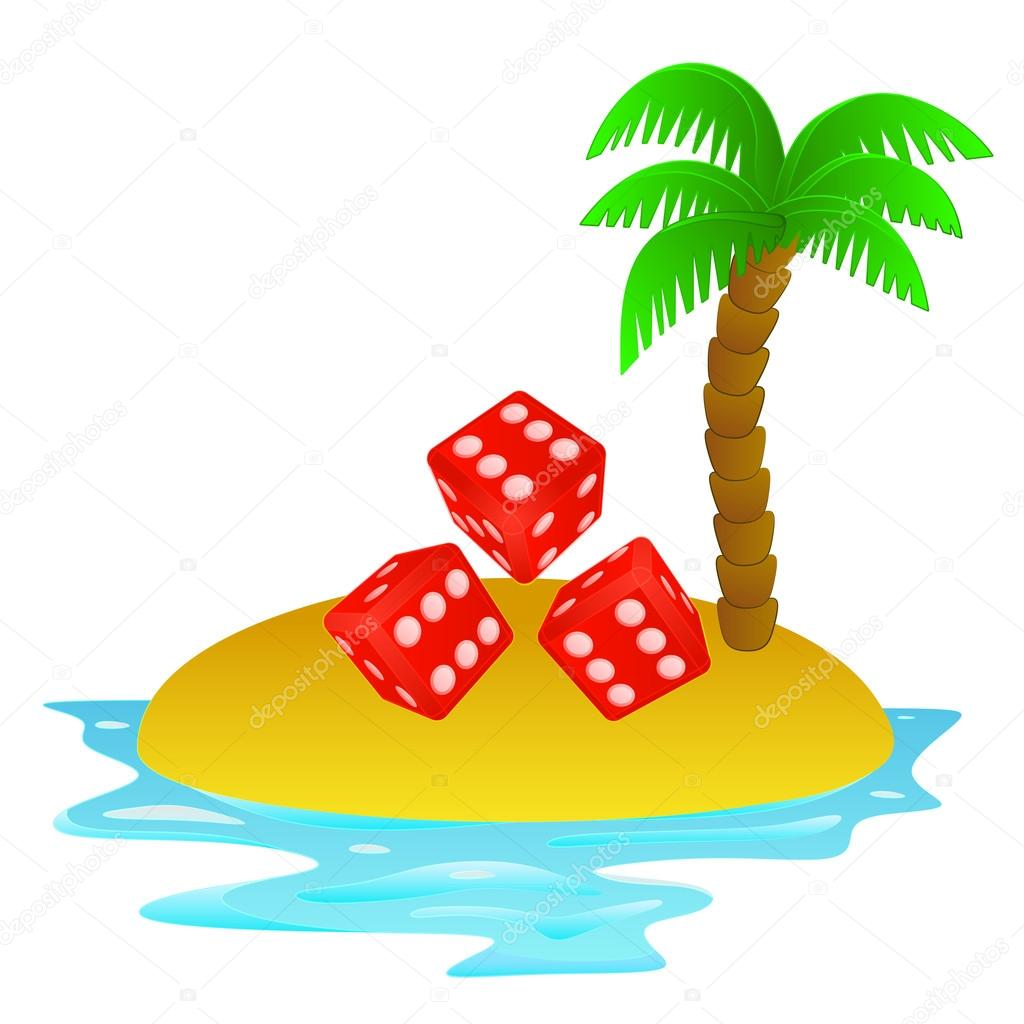 lonely tropical island with dice entertainment concept vector