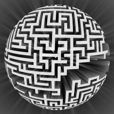 white labyrinth sphere structure with flare