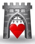 Brána předat milovat s červeným srdcem vektor