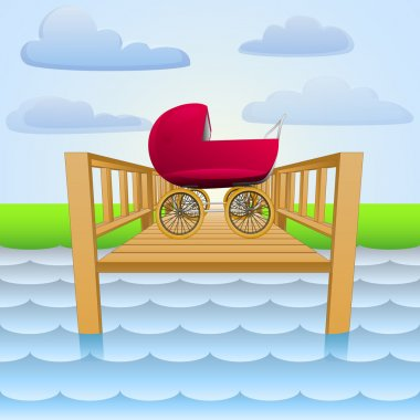 river pier with baby red girl carriage vector