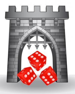 gate pass to gaming with red dice vector