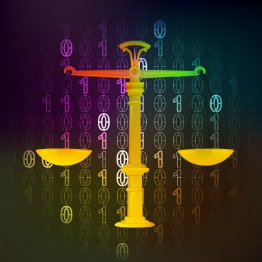 justice and law in binary internet space vector