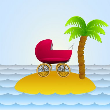 lonely island with baby carriage holiday vector