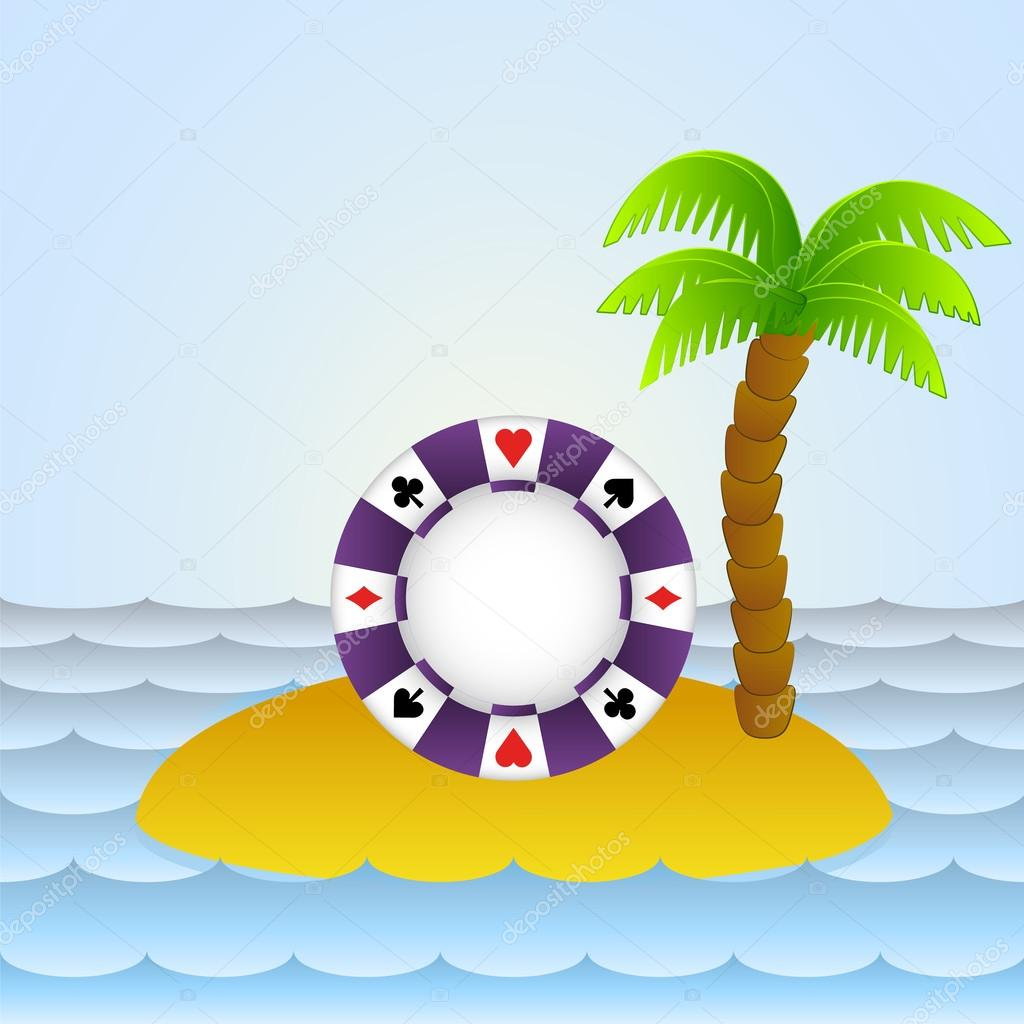 lonely island with poker betting chip vector