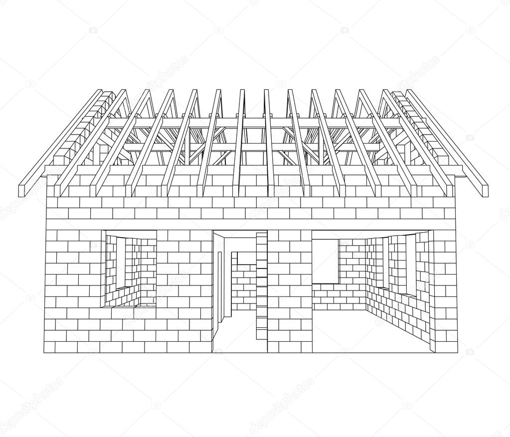 Front house construction line drawing vector — Stock Vector ...