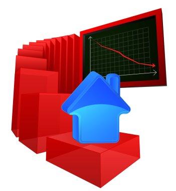 negative business results of real estate market vector