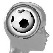 metallic human head with brain cloud with sport ball inside