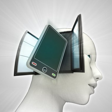 new smart phone technologies coming out or in human head through window concept