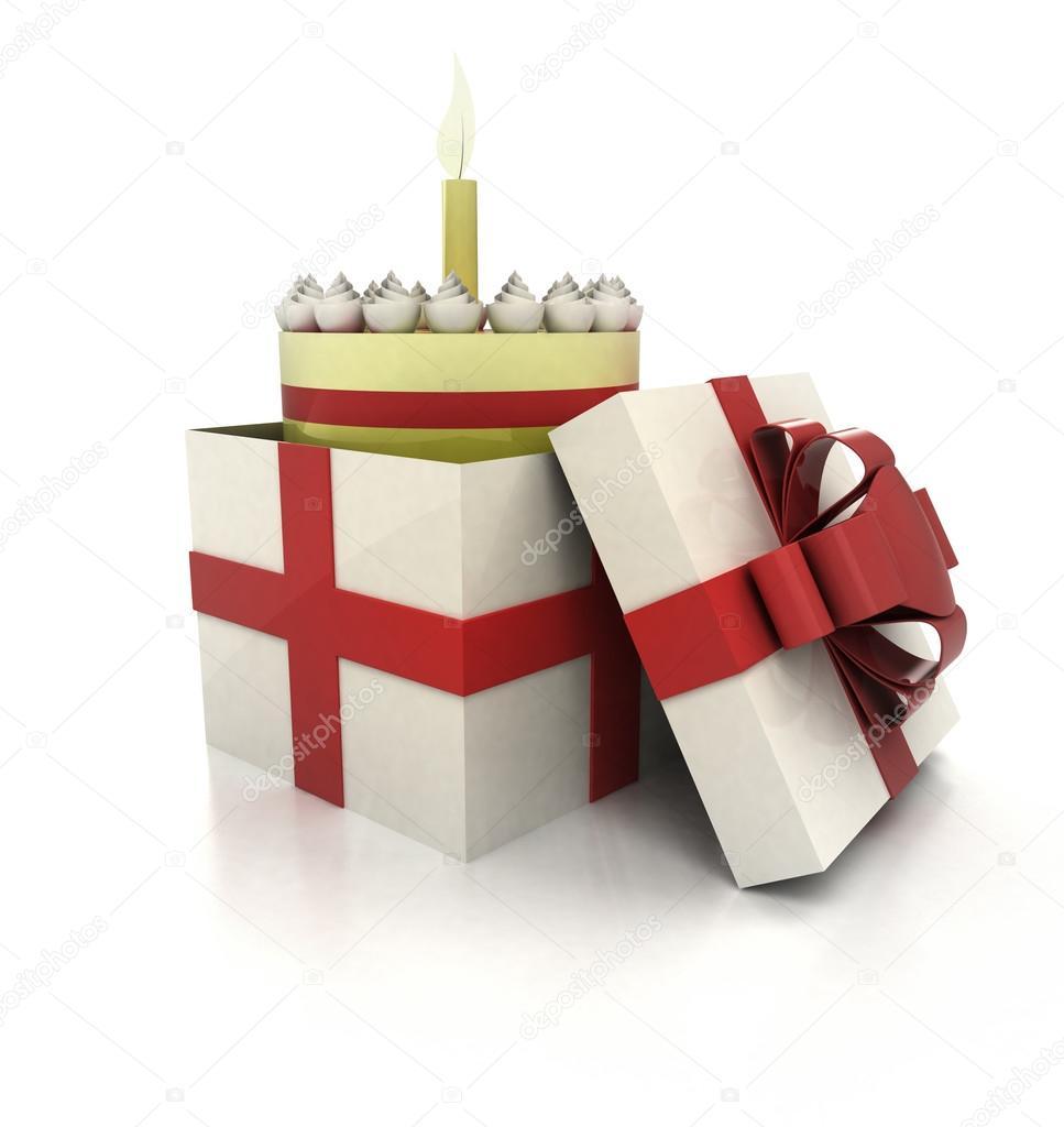 Geheimnisvolle Magische Geschenk Mit Geburtstagstorte Innen