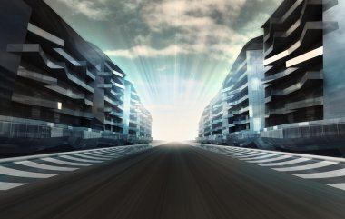 racetrack in business city in motion blur with flare wallpaper