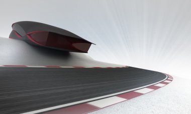 futuristic building above speed racetrack leading outdoors wallpaper