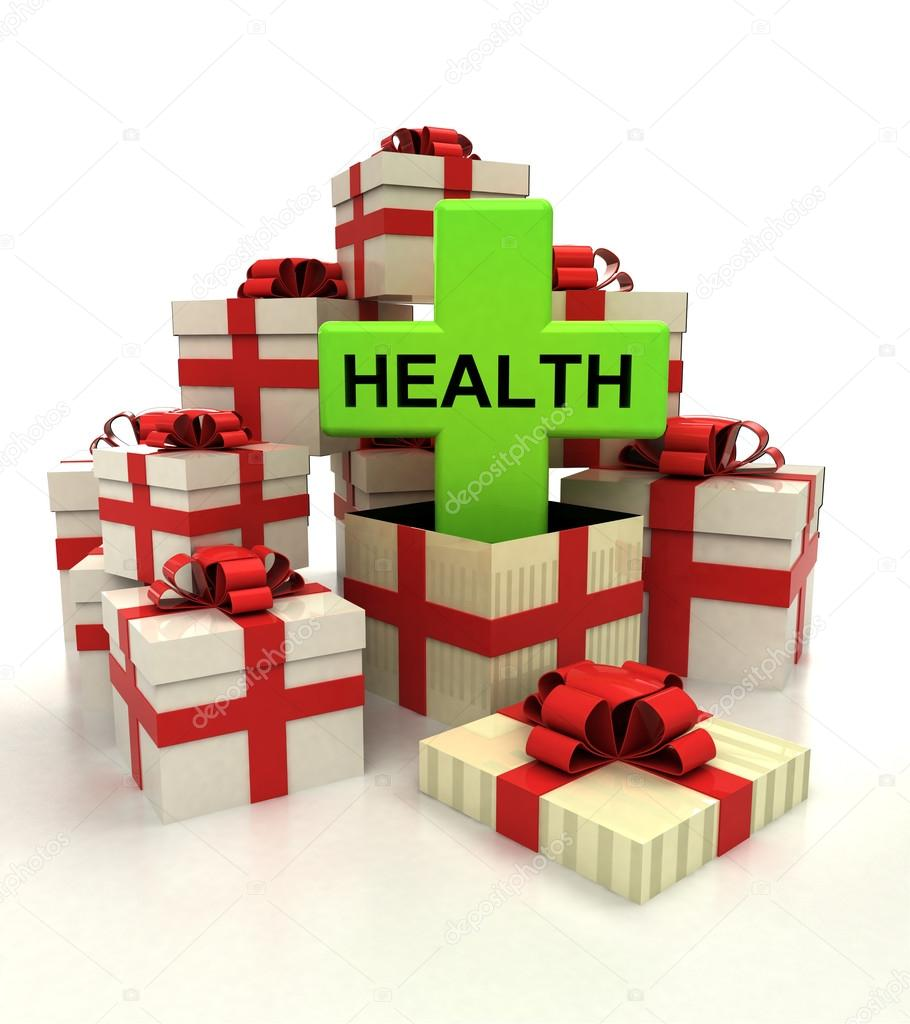 isolated group of christmas gift boxes with health cross revelation