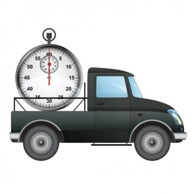 isolated pick up car on time delivery vector drawing