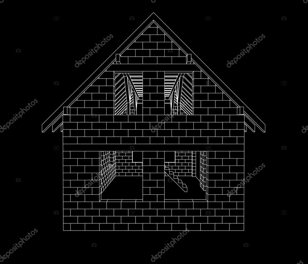 gable house construction line drawing on black vector