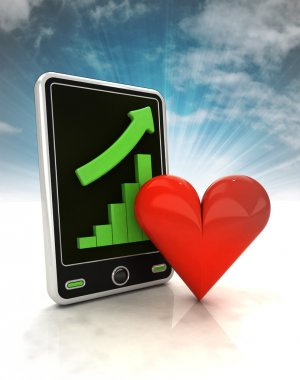 increasing graph stats of love on phone display with sky