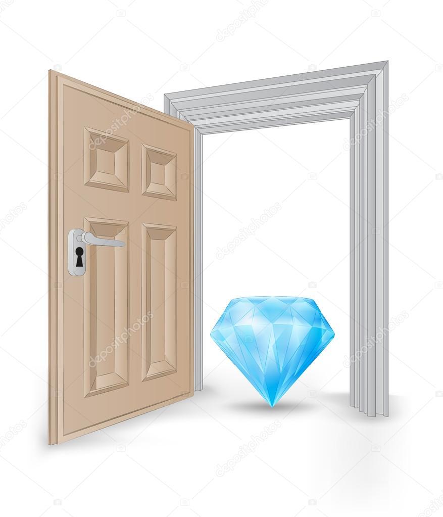 marco de puerta abierta aislado con el vector de diamante azul ...