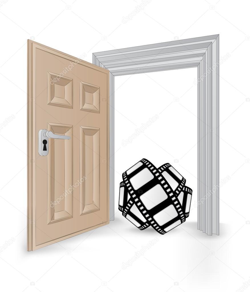 marco de puerta abierta aislado con vector de cinta de película ...
