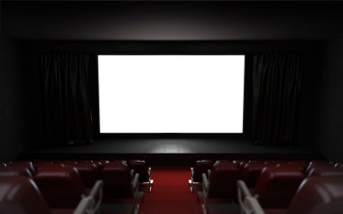 empty cinema auditorium with blank screen frame