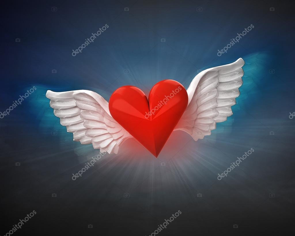Amor Corazón Con Alas Angelicales Fotos De Stock Adikk 42648647